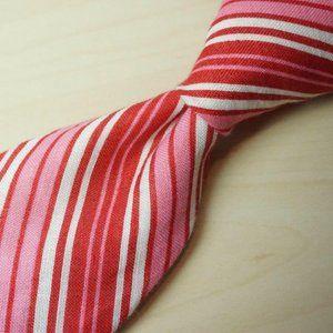 Barba Napoli Unstructured Pink Red Repp Stripe tie
